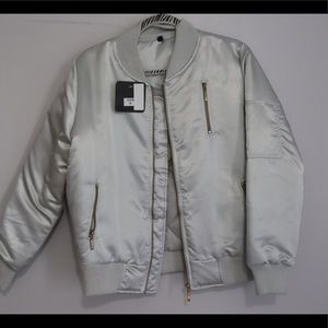 Silver bomber jacket NWT